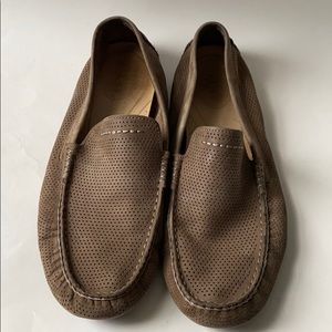 UGG Brown Leather Driving Loafer Slip on Shoes 11